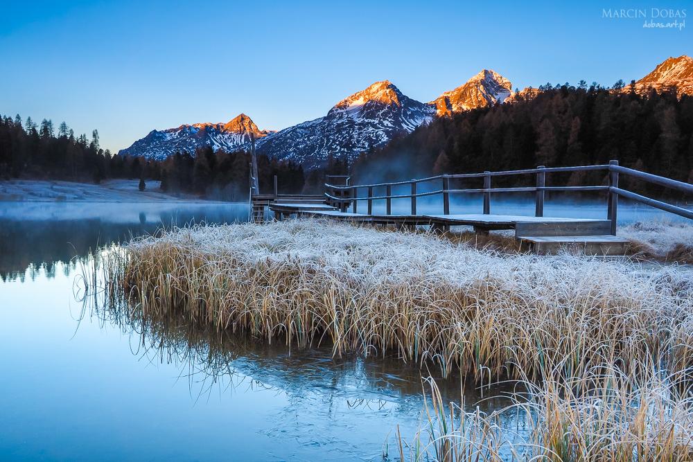 Autumn reflections on the lake Lej da Staz, Engadine Saint Morit