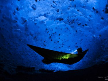 Hammocking inside biggest european glacier, Iceland