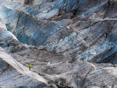 Climber on the glacier, Iceland