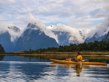 Kayaking on Milford Sound, New Zealand