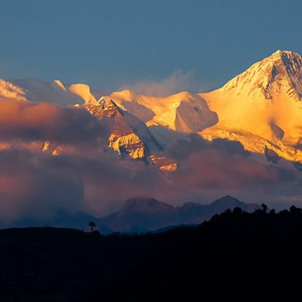 Mt. Machapuchare, view from Phewa Lake, Pokhara, Nepal