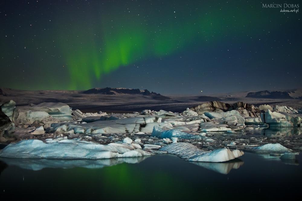 Aurora Borealis over Jokulsaarlon, Iceland