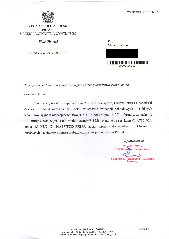 rejestracja nadajnika PLB