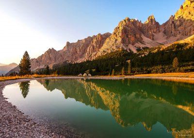 Dolomites Group Cristallo - Little pond in Val Padeon near Cortina d Ampezzo.